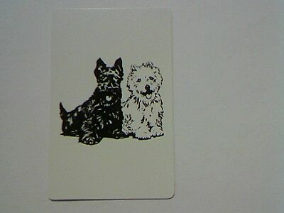 1 Single Swap/Playing Card - Cute Black and White Dogs