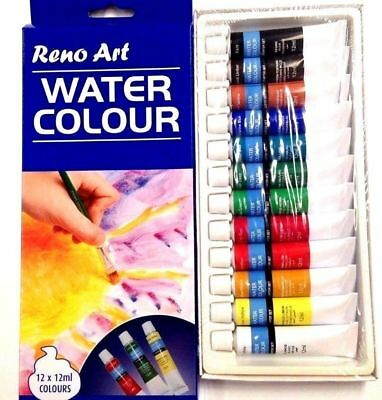 Artist's 12ml Water Paints Set of 12 Assorted Colors Artist Art High Quality