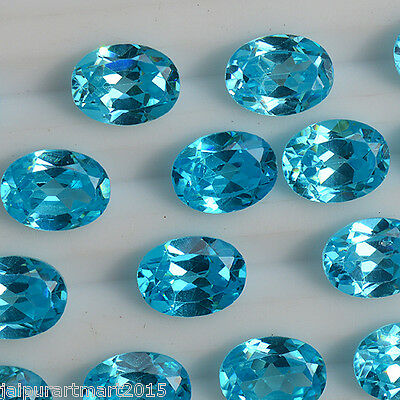 4 Pieces Natural Sky Blue Topaz Cabs, 8x10 MM Oval Faceted Blue Topaz Gemstone,