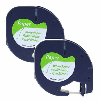 "2PK Dymo Compatible Paper Label Tape 91330 Letra Tag 12mm 1/2"" Black on White"