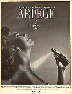 1958 vintage perfume AD, ARPEGE by LANVIN  fragrance ad 112814