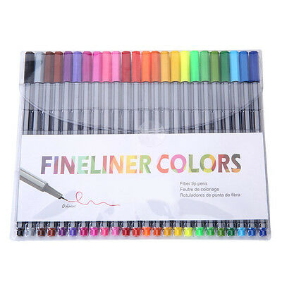 24 Fineliner Pens Color Fineliners Set Markers Art Painting Good Quality W4N