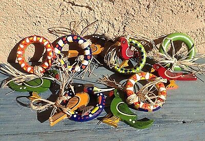 Set Of Six Colorful Tropical Festive Napkin Rings, Decorated Wood