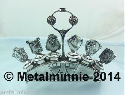 Antique Wmf Silver Plate Wine Bottle Stoppers With Stand Hunting Theme