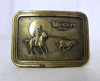 Western Style Belt Buckle Cowboy Horse Calf Roping Ranch Distressed Boho Cowgirl