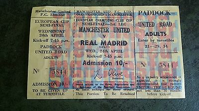 Unused Football Ticket 1968 Match Between Manchester United & Real Madrid