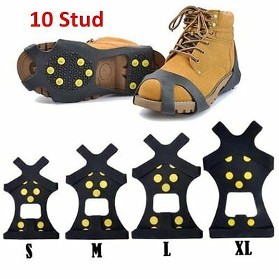 10-Stud Snow Ice Climbing Safety Anti-Slip Boots Shoes Spikes Grips Cleats S XG
