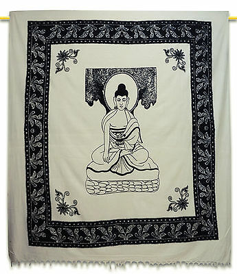 White Vintage Tapestry Indian Cotton Wall Hanging Decor Lord Buddha 92 X 82