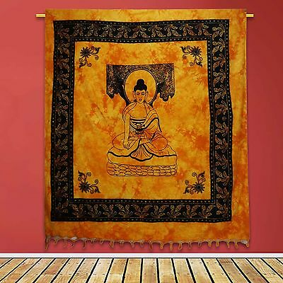 Vintage Yellow Tapestry Indian Cotton Wall Hanging Decor Lord Buddha 92 X 82