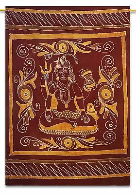 Indian Vintage Maroon Tapestry Lord Shiva Cotton Wall Hanging Decor 84 X 56