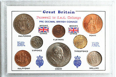 Great Britain1955.65 & 1967 Coin Set Farthing to Crown Lot (8) Coins UNC