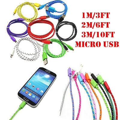 1M 2M 3M Braided USB Data  Sync Charging Cable Charger Cord For Android Samsung