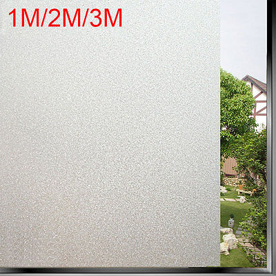 1/2/3m Privacy White Frosted Window Door Film Frost Etched Glass Sticker Back