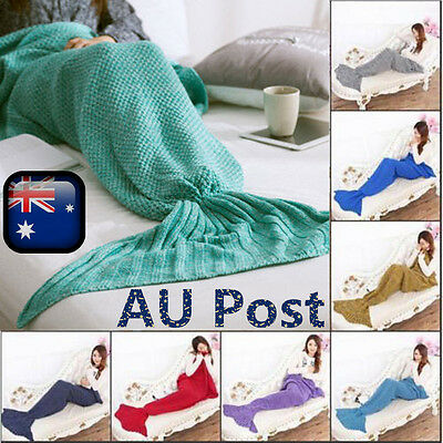 2017 Mermaid Tail Blanket Adult Kid Knitted Soft Flannel Seasons Sleeping Bag AU