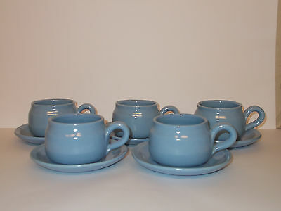 5 x Pottery Stoneware Coffee Cups and Saucers Blue Lovely