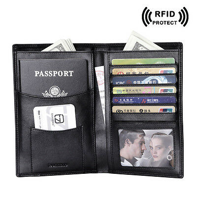 Men Genuine Leather RFID Passport Cover Travel ID Card Bifold Document Wallet