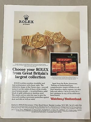 1990's ROLEX Watch A4 Colour Advert L27