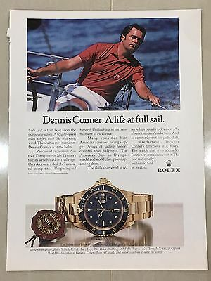 1980's ROLEX Watch A4 Colour Advert L33 - Dennis Conner