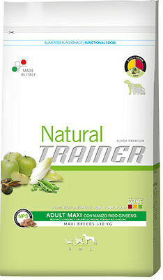 NATURAL TRAINER MAXI ADULT MANZO RISO GINSENG CANE 12,5 kg CROCCHETTE PER CANI