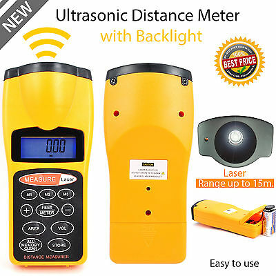 Distance Meter & Laser Pointer Range Finder Ultrasonic Lcd Tape Measure Uk Stock