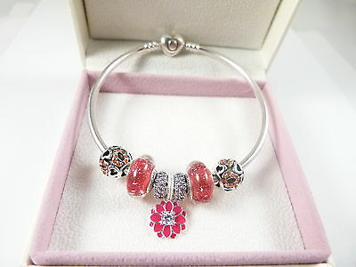 Authentic Pandora bangle, Authentic Daisy, Pave & Love beads - Valentines gift