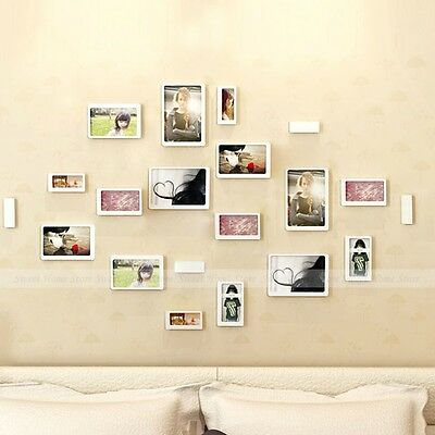 10pcs White Rectangle Picture Photo Frames 3D Removable Wall Sticker Home Decor