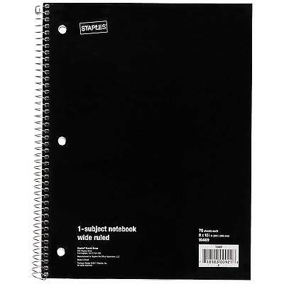 "Staples 1 Subject Notebook, Wide Ruled, 8"" x 10-1/2"", Black"