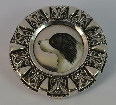 Victorian Hand Painted Welsh Sheepdog Silver Brooch with Patent Clasp
