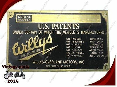 Wholesale pack of 5 Pcs Willys Overland Data Plate Acid Etched Brass Customized