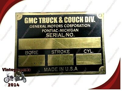 Acid Etched Gmc Truck And Couch Div. Data Plate Brass ( 5 pieces)