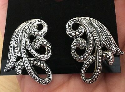 W. Germany Marked, Vintage Silver Clip On Earrings.
