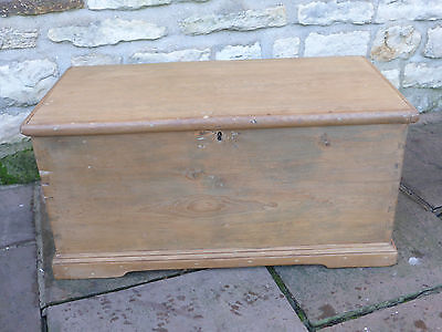 Victorian Pine Blanket Box with Lock + Key. Stripped and Polished