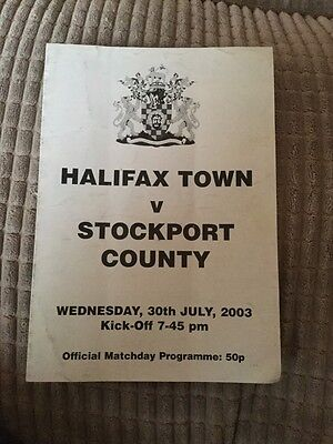 Halifax Town v Stockport County friendly programme 30 July 2003