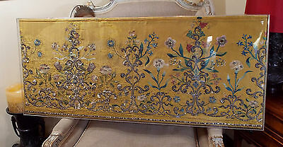 18th Century Embroidery French Dress Panel  Metallic Stumpwork Silk  Flowers