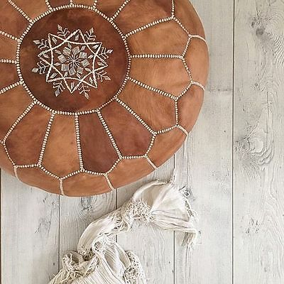 Brand New Moroccan Leather Ottoman Pouffe Pouf Footstool In Tan