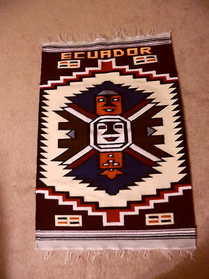 Vtg Hand Woven Wool Tapestry Wall/Rug From Ecuador