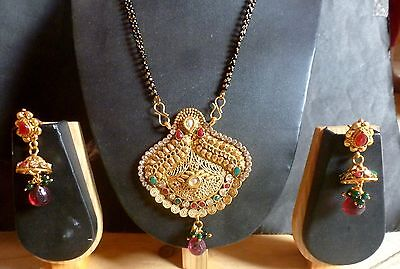 Antique Gold Plated Indian Wedding Kundan Mangalsutra Pendant Earrings Set a