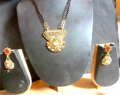 Antique Gold Plated Kundan Indian mangalsutra Necklace Pendant Earrings Set