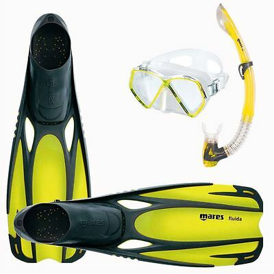 MARES Childrens TOP QUALITY SILICONE Mask Fins Snorkel Set - Size UK Child 13-2