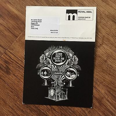 LORD DON'T SLOW ME DOWN  oasis postcard promo flyer info card  RARE manchester