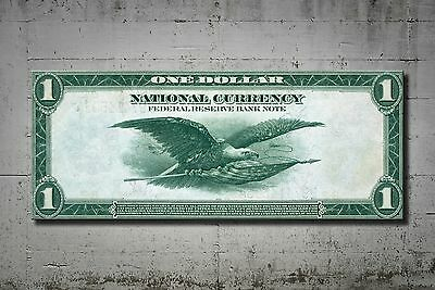 Mindblowing Artwork 1914 $1 Federal Reserve Bank Note Canvas 40 Inch Unc Rare
