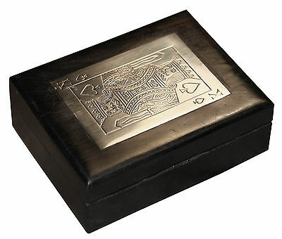 Chromed Brass Inlaid Box With A Pack Of Playing Cards DL010