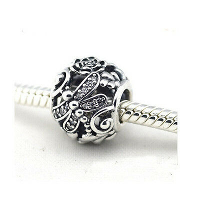Sterling Silver European CZ Pave Dragonfly Meadow Charm -FREE Pandora Cloth