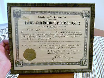 1925 Vintage Dairy advertising Wisconsin cheese factory License framed History