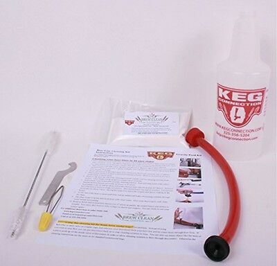 Kegerator Beer Line Cleaning Kit Kegco KEG Brew Clean Powder Adapter Hose Wrench