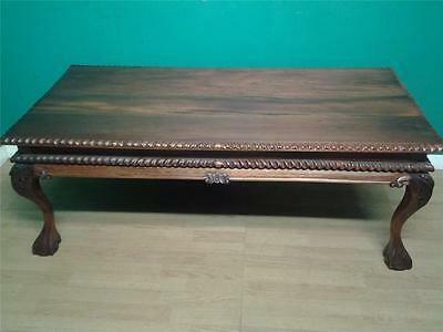 Ornate large Chippendale style carved walnut coffee table