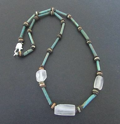 NILE  Ancient Egyptian Amulet Rock Crystal Mummy Bead Necklace ca 1000 BC