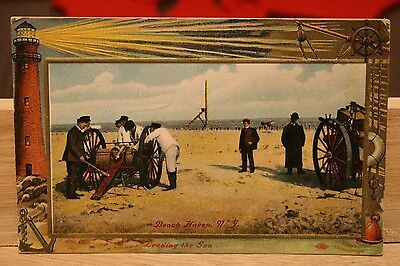 """Loading The Gun"" Beach Haven, New Jersey, NJ, 1910 Vintage, Rescue Cannon VHTF!"