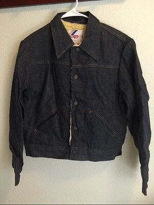 Vintage Men's Rappers With Sherpa Lined Denim Jacket Made In USA Size40 NOS