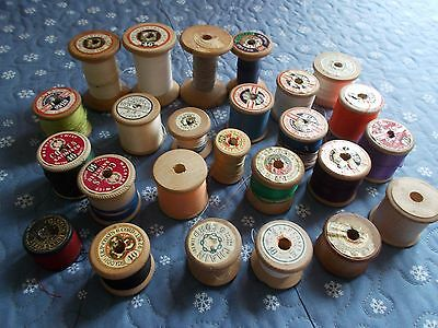 Collection of 25 Vintage Wooden Cotton Reels Sylko Coats Dewhurst + more